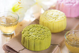 Colorful snow skin mooncakes