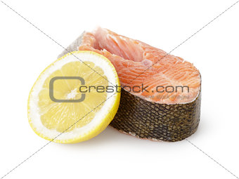 fresh trout steak with lemon