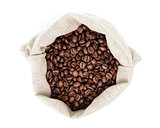 sack bag full of roasted coffee beans