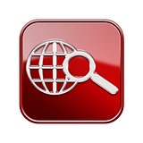 globe and magnifier icon glossy red, isolated on white backgroun