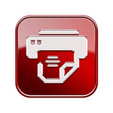 Printer icon glossy red, isolated on white background