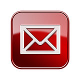 postal envelope icon glossy red, isolated on white background
