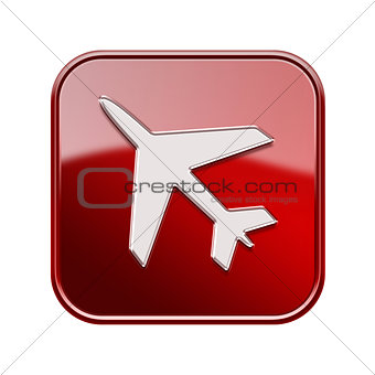 Airplane icon glossy red, isolated on white background
