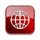 Globe icon glossy red, isolated on white background