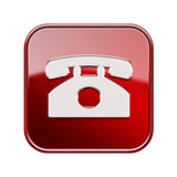 Phone icon glossy red, isolated on white background