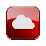 Cloud icon glossy red, isolated on white background