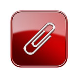Paper clip icon glossy red, isolated on white background