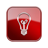 lightbulb icon glossy red, isolated on white background