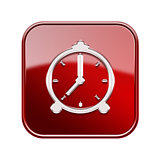 alarm clock icon glossy red, isolated on white background