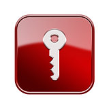 Key icon glossy red, isolated on white background