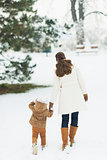 Mother and baby walking in winter park . rear view