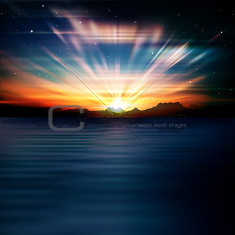 abstract background with silhouette of mountains