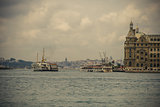 Ferry and the Haydarpasa train station at Kadikoy, Istanbul