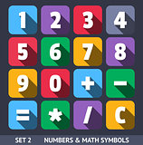 Numbers and Mathematic Symbols. Vector Icons With Long Shadow Set 1