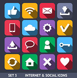 Internet and Social Vector Icons With Long Shadow Set 3
