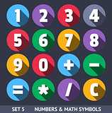 Numbers and Mathematical Symbols. Vector Icons With Long Shadow Set 5