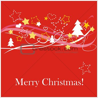 Modern vector Christmas card with wishes. Classic illustration with red background, white, pink and yellow trees and stars & Merry Christmas message
