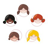 Happy multicultural school girls group with different skin and hair color. Vector illustration