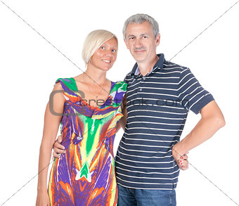 Smiling attractive middle-aged couple