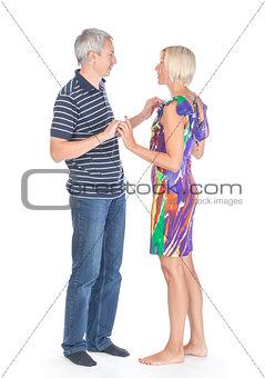 Modern trendy affectionate mature couple