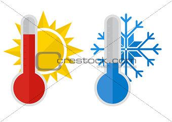 Thermometer snow sun