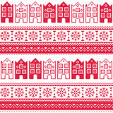 Christmas knitted seamless pattern with town houses, adn snowflakes
