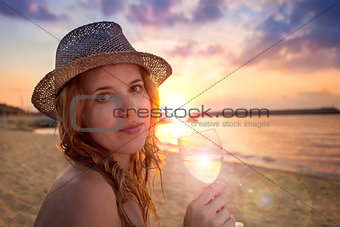 People collection: beautiful lady in hat with glass of wine on t