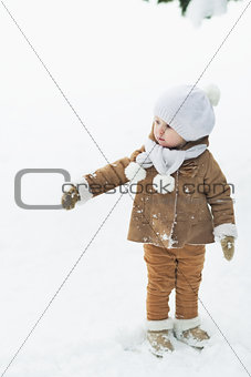 Baby in winter park