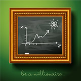 Graph of growth draw chalk on board, vector Eps10 illustration.