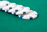 Row of poker chips