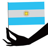 Argentina flag in his hand
