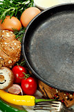 frying pan and ingredients