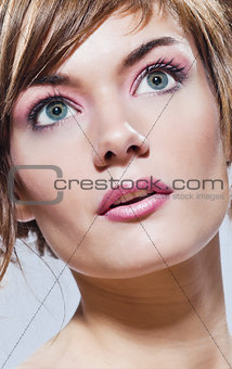 beautiful young woman close-up beauty portrait face