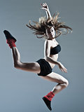 beautiful young woman leap jump