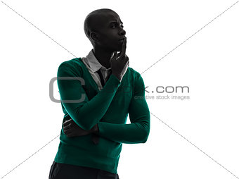 african black man thinking pensive  silhouette