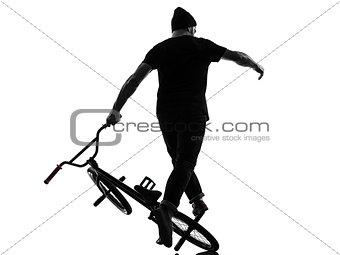 man bmx acrobatic figure silhouette