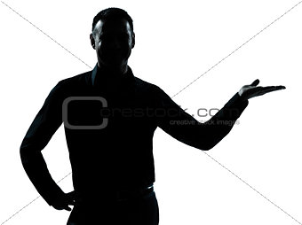 one business man hand open silhouette