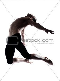 Man modern ballet dancer dancing gymnastic acrobatic jumping