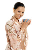 drinking hot drink tea woman asian