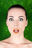Portrait of a surprised beautiful woman mouth open