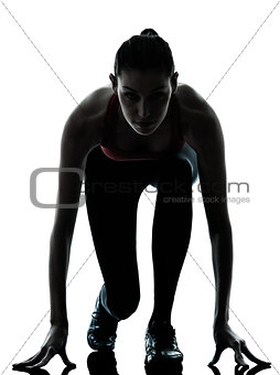 woman sprinter on starting block