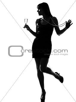 stylish silhouette woman partying drinking champagne