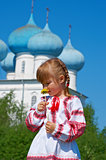 Russian  girl on church