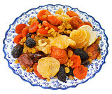 dried sweet fruits on turkish plate
