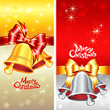Vector greeting card with Christmas bells, bow and snowflakes