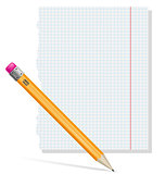 pencil and paper vector illustration