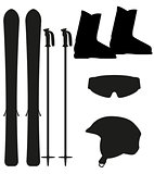 ski equipment icon set silhouette vector illustration