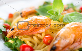 Pasta with shrimps close-up