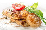 Pork steak with tomato and onion