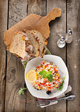 Risotto with vegetables and bread